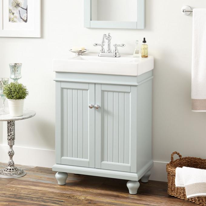 24 Lander Vanity Cabinet And Sink Sage Green Vanity Blue Bathroom Interior Bathroom Renovation Cost