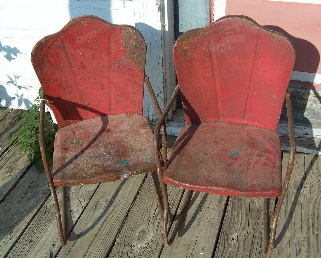 Pair Of Vintage Childrens Metal Yard Chairs Rocker #