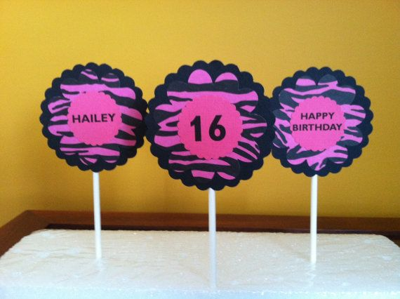 BIRTHDAY CUPCAKE TOPPERS  Zebra Print Black by CreationsbyColett, $8.00