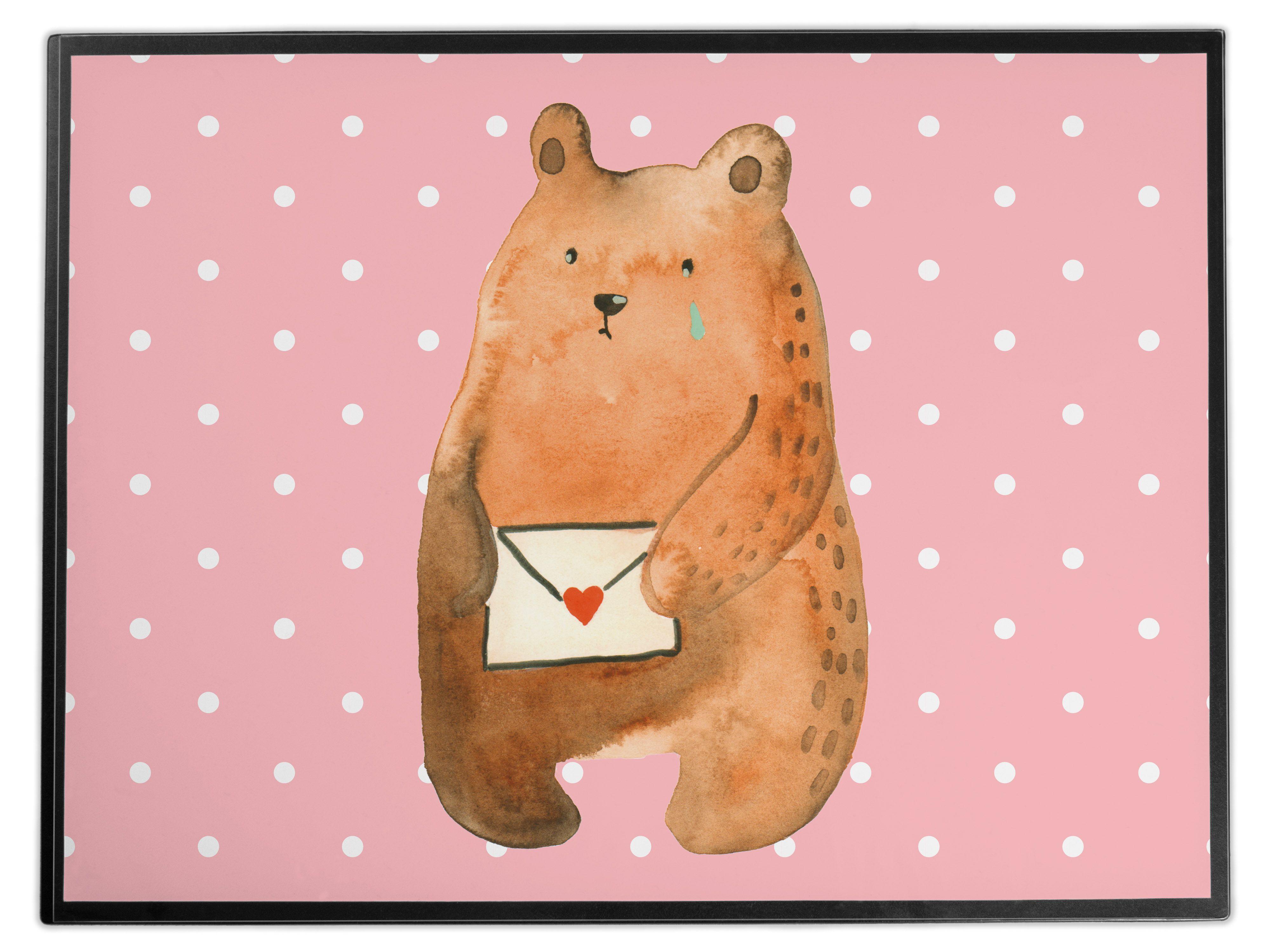 Schreibtischunterlage Liebesbrief-Bär aus Kunststoff