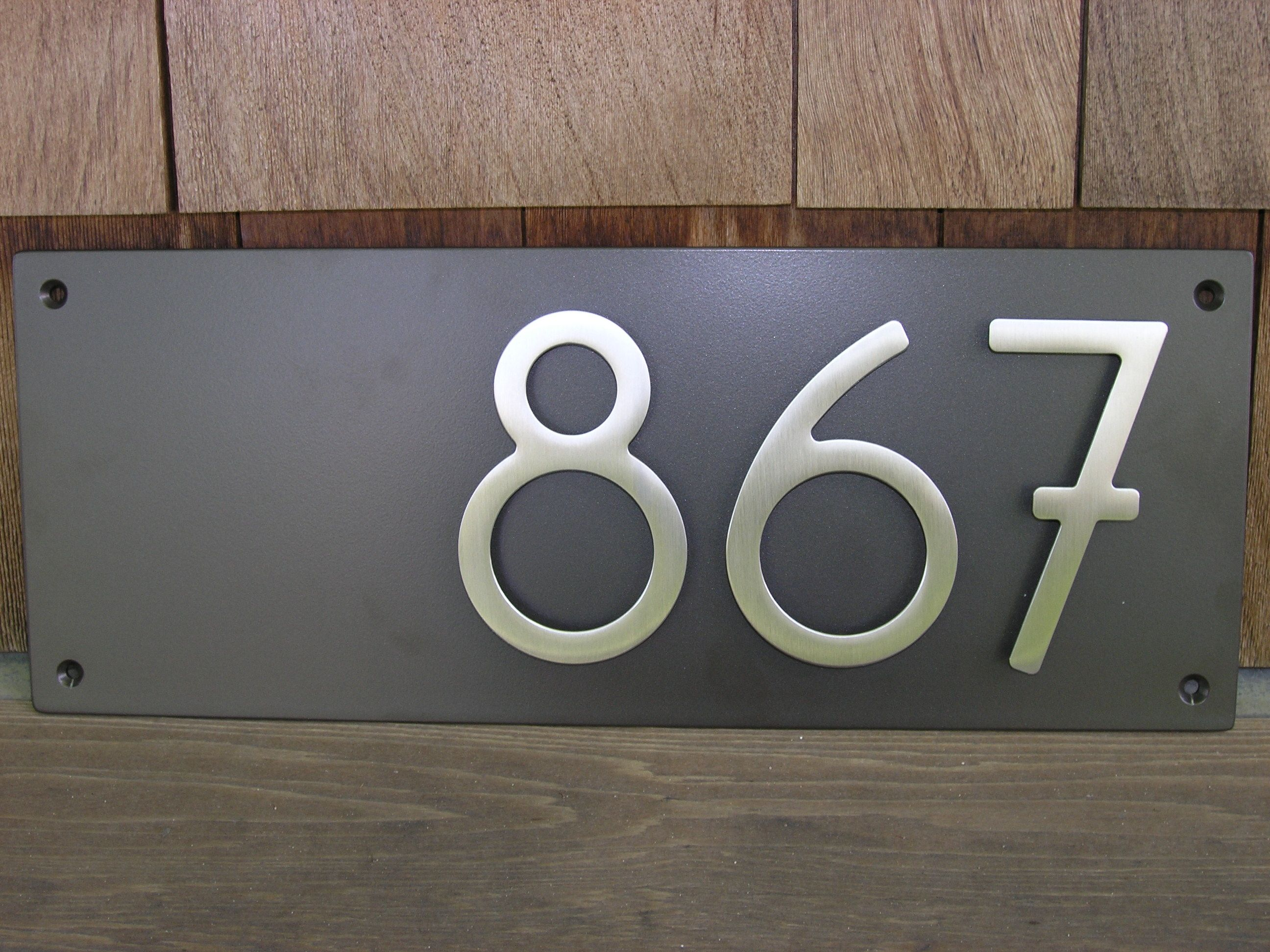 Custom modern address plaque with bungalow style house numbers