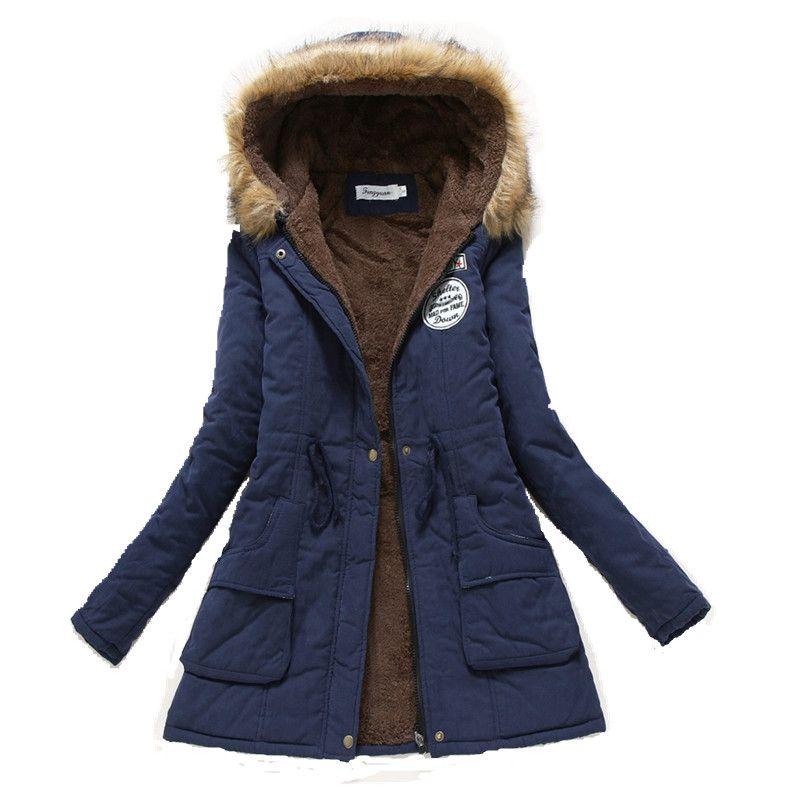 Cappotto di inverno Delle Donne giacca 2016 Parka Outwear Casuale Militare Con Cappuccio Ispessimento Cappotto Del Cotone Giacca Invernale Cappotti di Pelliccia Delle Donne Vestiti