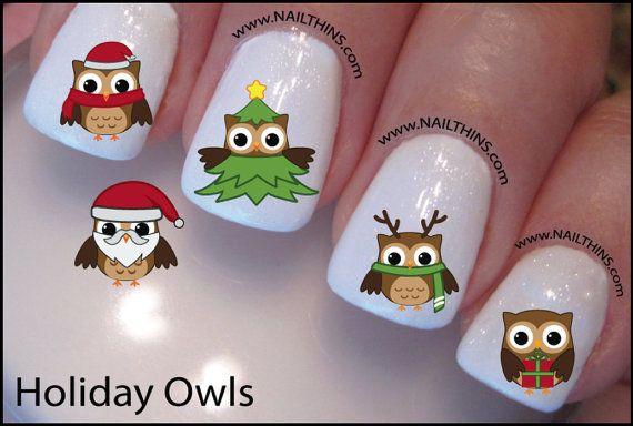 Holiday Owl Nail Decal Christmas Design Nail Art Owl Nails And