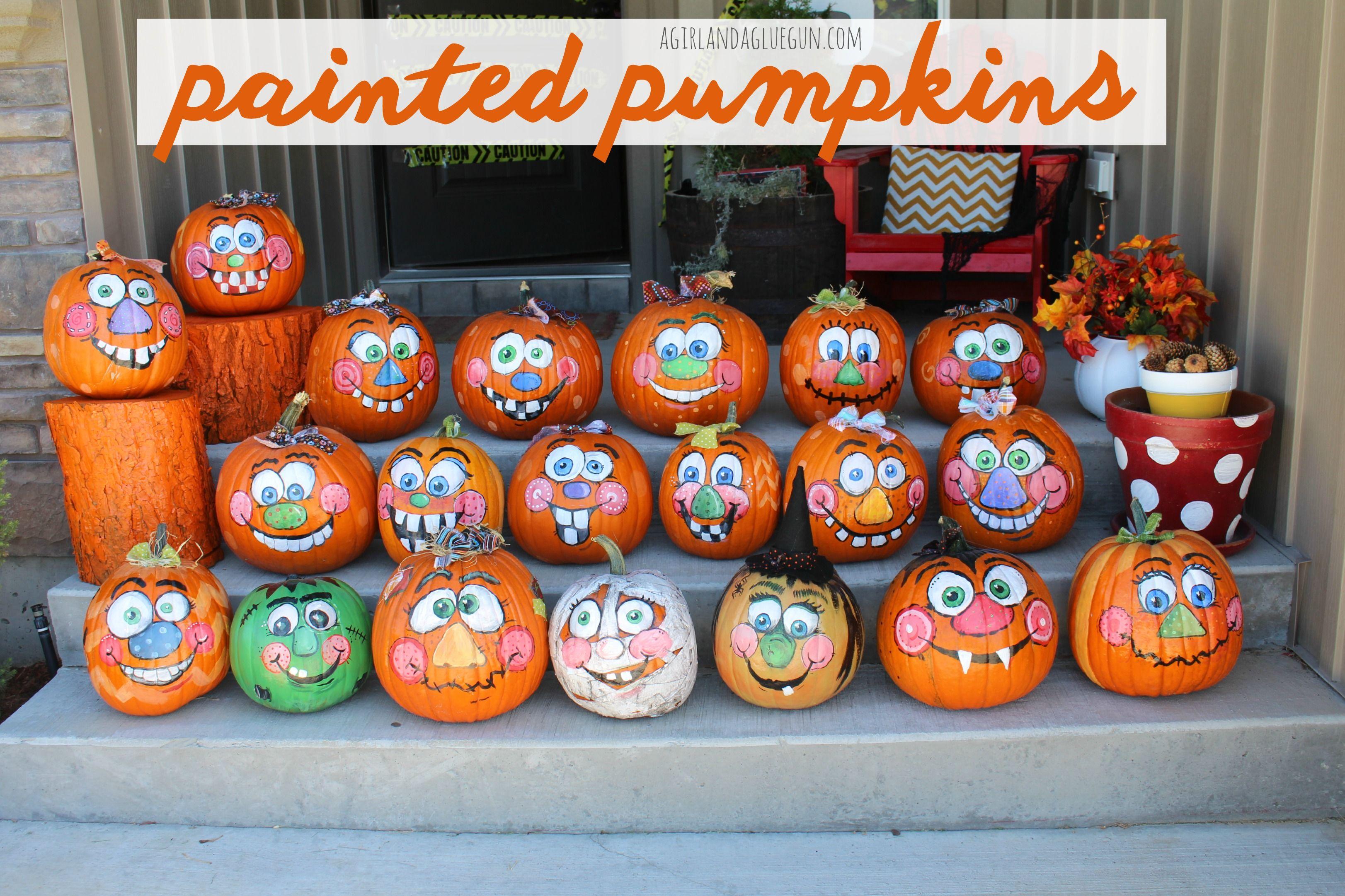 painted pumpkins outdoor k rbis bemalen halloween k rbisse. Black Bedroom Furniture Sets. Home Design Ideas