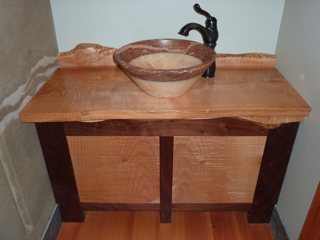 live edge figured maple and black walnut vanity with stunning