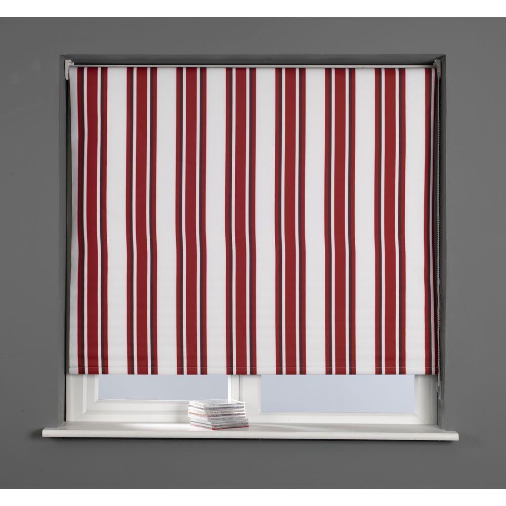 Stripe Designer Blackout Roller Blind Red 120cm