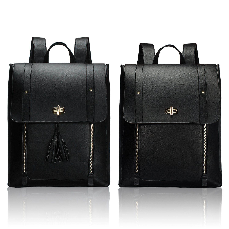 f02c73997b60 Estarer Women Black Backpack Large PU Leather Satchel Rucksack 15.6