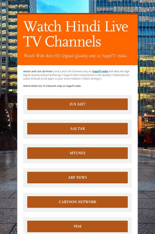 Help spread the word about Watch Hindi Live TV Channels  Please