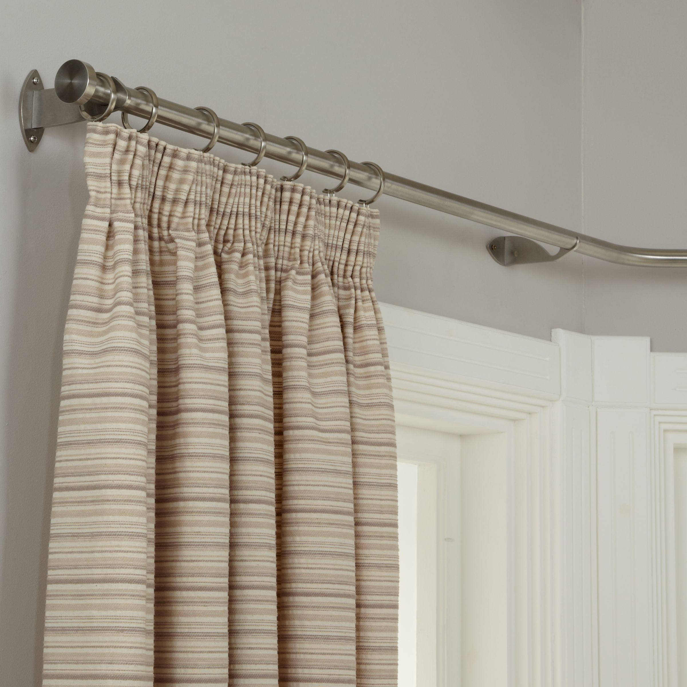 John Lewis Partners Made To Measure Contemporary Bay Bend Curtain Pole Disc Finial Curtain Poles Curtains Bay Window Pole