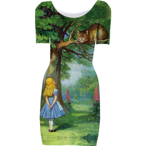 Cheshire Cat Short Sleeved Bodycon Dress - Available Here: http://printallover.me/collections/sondersky/products/0000000p-cheshire-cat-3
