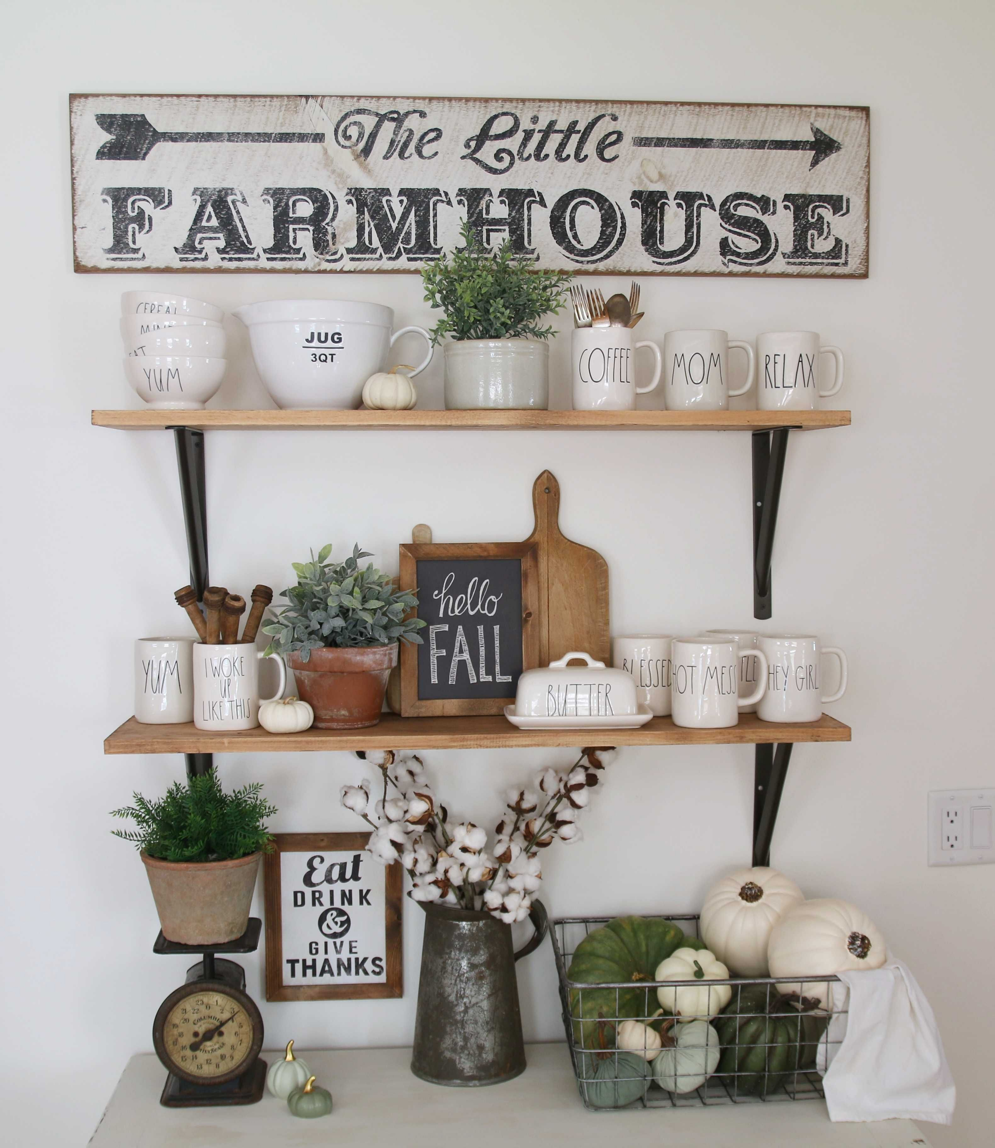 30 Attractive Farmhouse Kitchen Wall Shelves With Most Wonderful