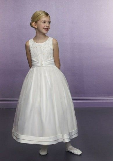 A-line Jewel Natural Waist Pleated Long Satin White Flower Girl Dresses