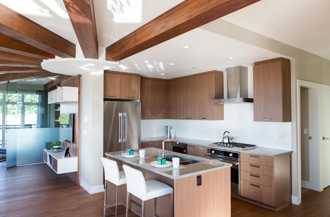walnut stained ceiling beams, rift cut walnut kitchen cabinets. www ...