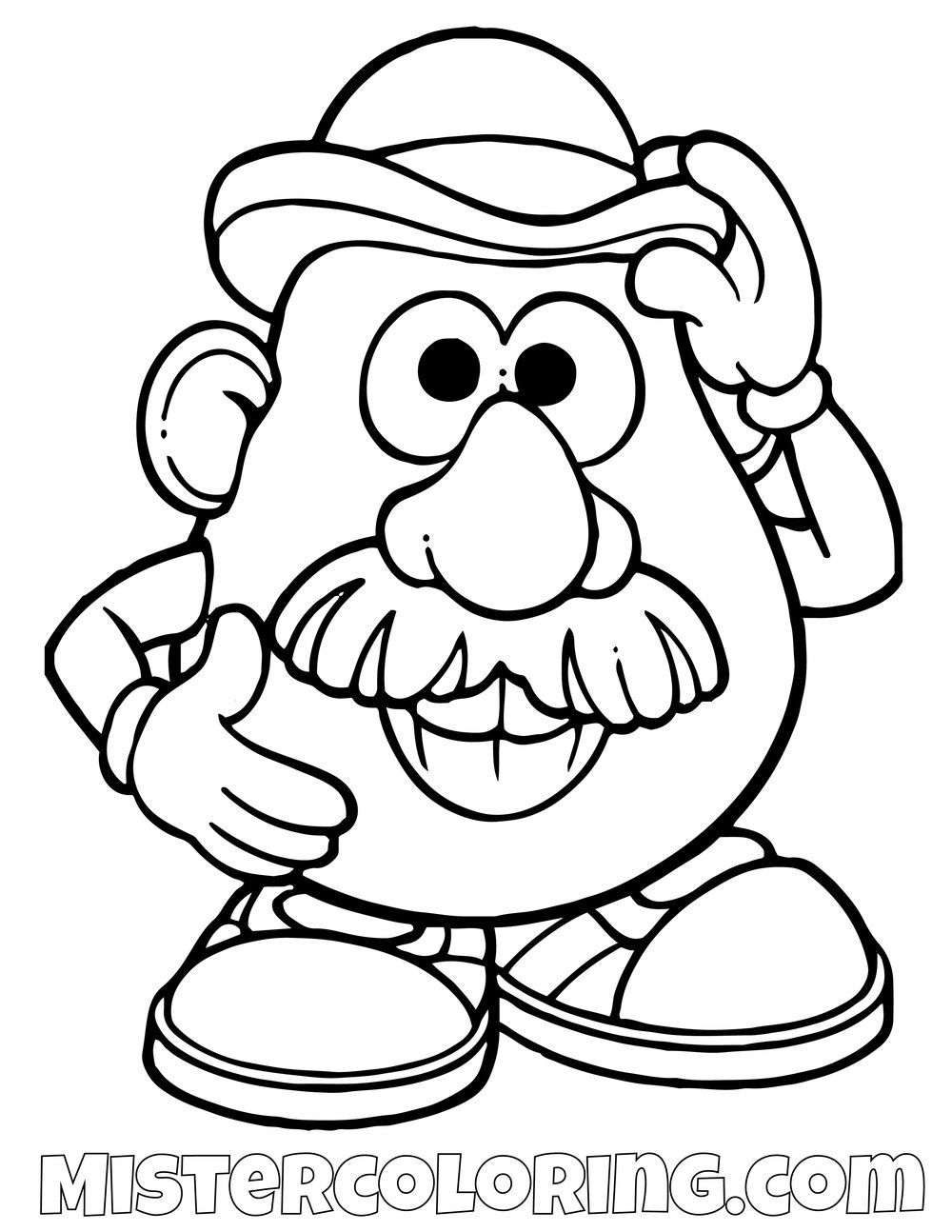 Mr Potato Head Greeting Toy Story Coloring Page Toy Story Coloring Pages Cartoon Coloring Pages Disney Coloring Pages