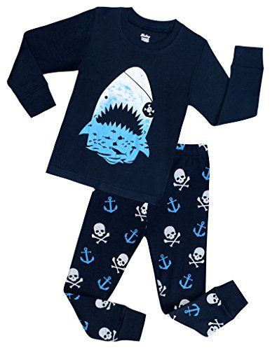 9d54d752b Boys Shark Pajamas Children Christmas PJs Kids Clothes Size 2-7 ...
