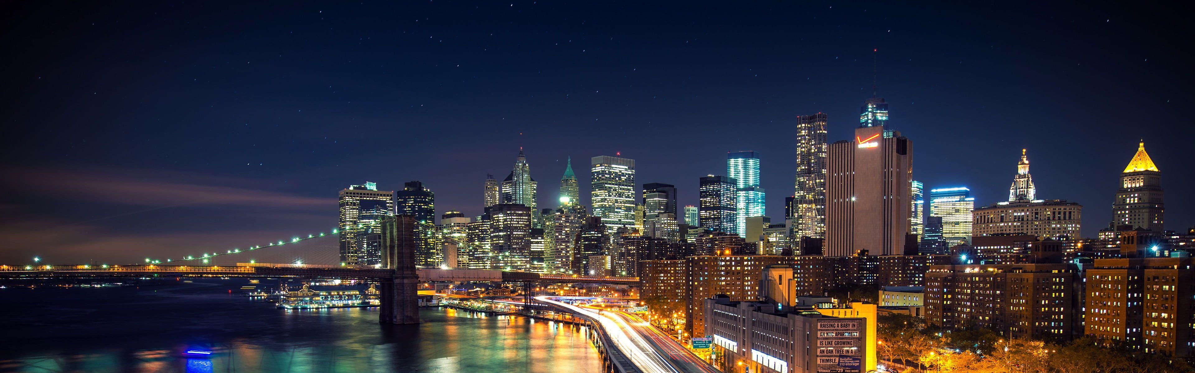 City Skyline New York City City Night Lights Long Exposure Brooklyn Bridge Multiple Display Dual Monitors 4k Wallpape City Skyline Skyline Brooklyn Bridge