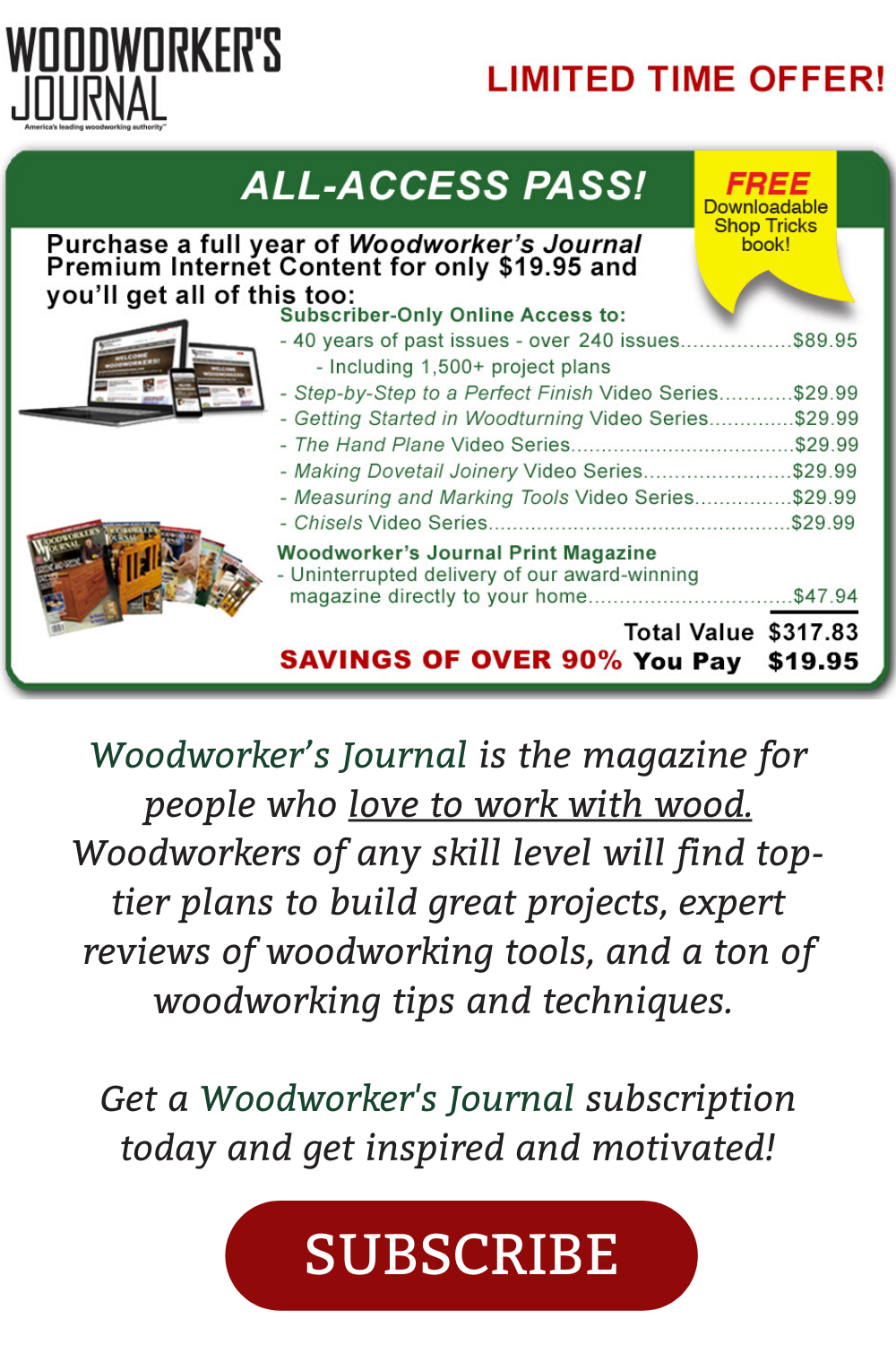 Woodworker S Journal Is The Magazine For People Who Love To Work With Wood In 2020 Woodworking How To Plan Woodworking Projects