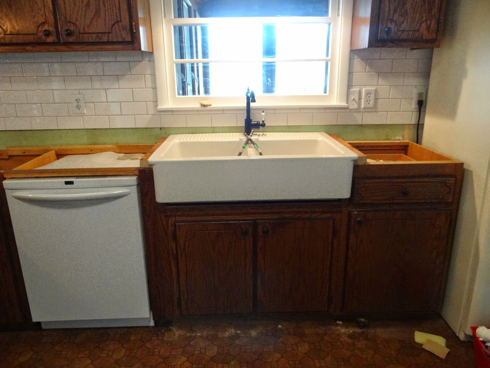 Installing An Ikea Domsjo Sink In A 36 Sink Base Cabinet Sink Base Cabinets Farm Sink Kitchen