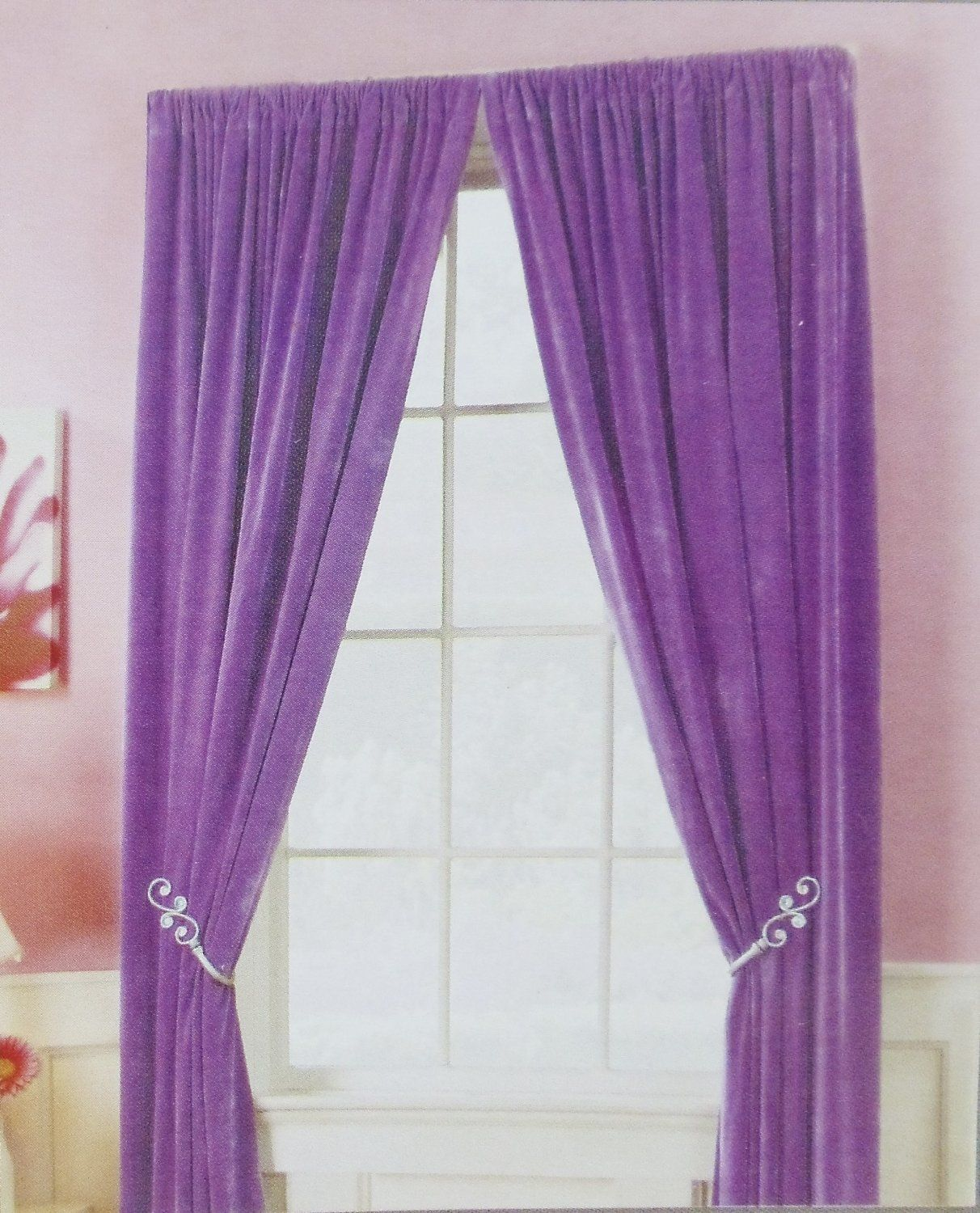 Interior,Lovable Double Layer White Curtains And Chic Purple ...