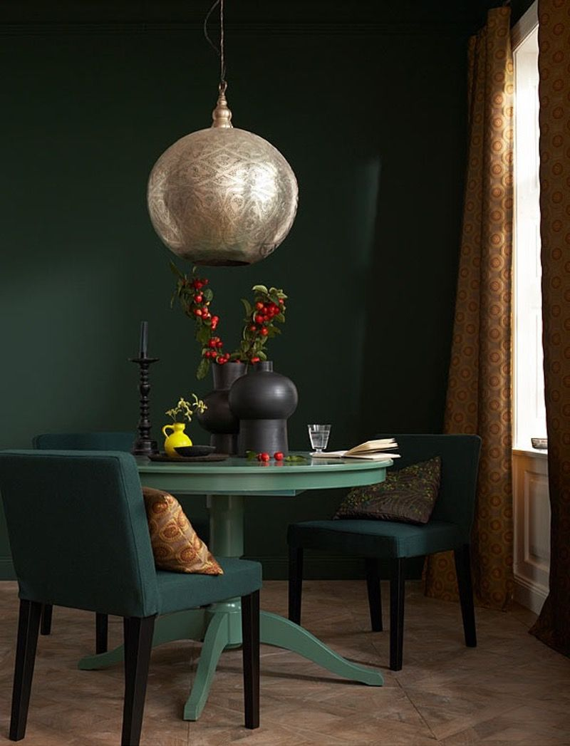 Dining Room Dark Romantic: Paint Color Portfolio: Dark Green Dining Rooms