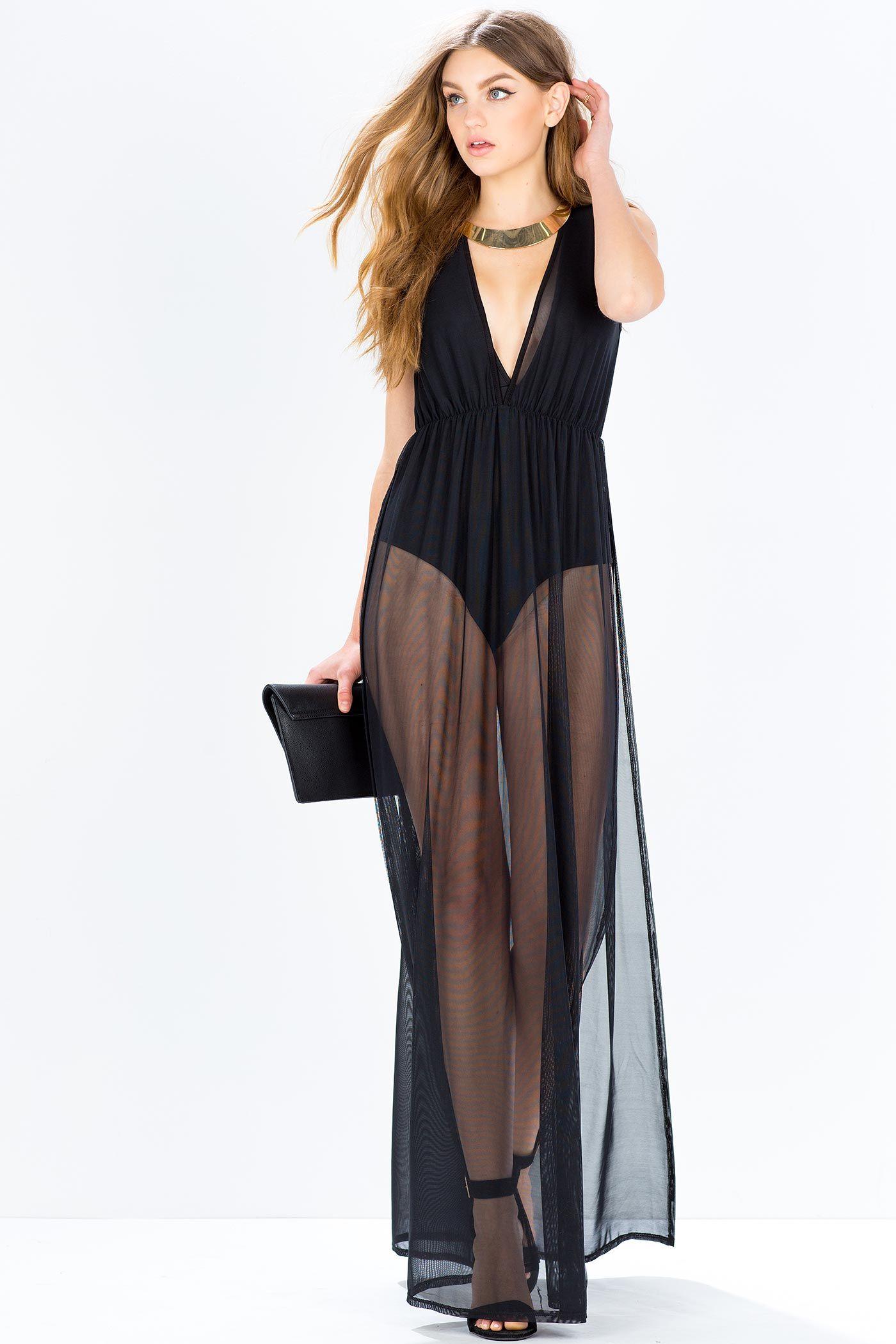 Sheer chiffon black maxi dress