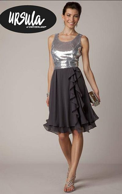 Ursula Mirror Sequin and Chiffon Cocktail Dress 11226 at frenchnovelty.com