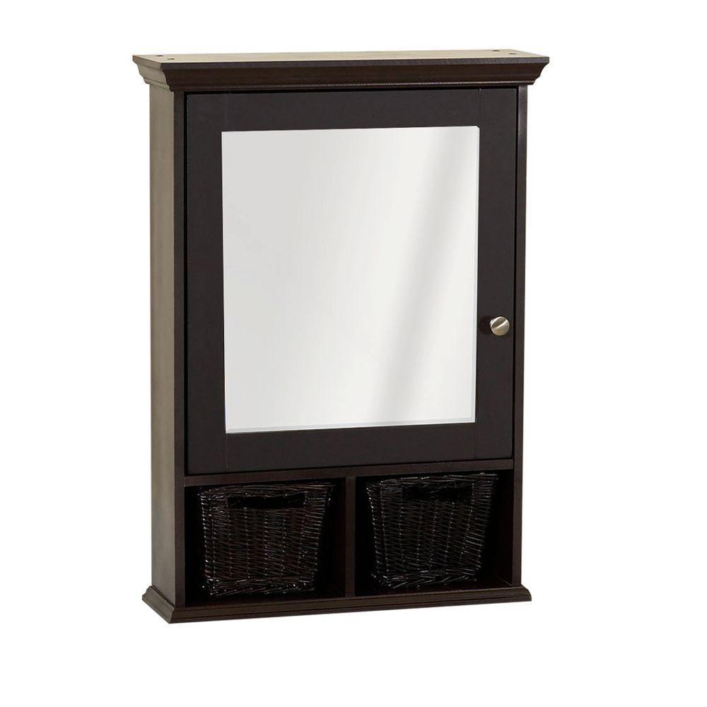 Zenith 21 In X 29 In Mirrored Surface Mount Medicine Cabinet With Wicker Baskets In Espresso Th22ch Surface Mount Medicine Cabinet Medicine Cabinet Mirror Wicker Baskets
