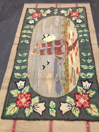 Beautiful Rare Antique Manheim Pa Folk Art Nautical Hooked Rug Circa 1920s Ebay