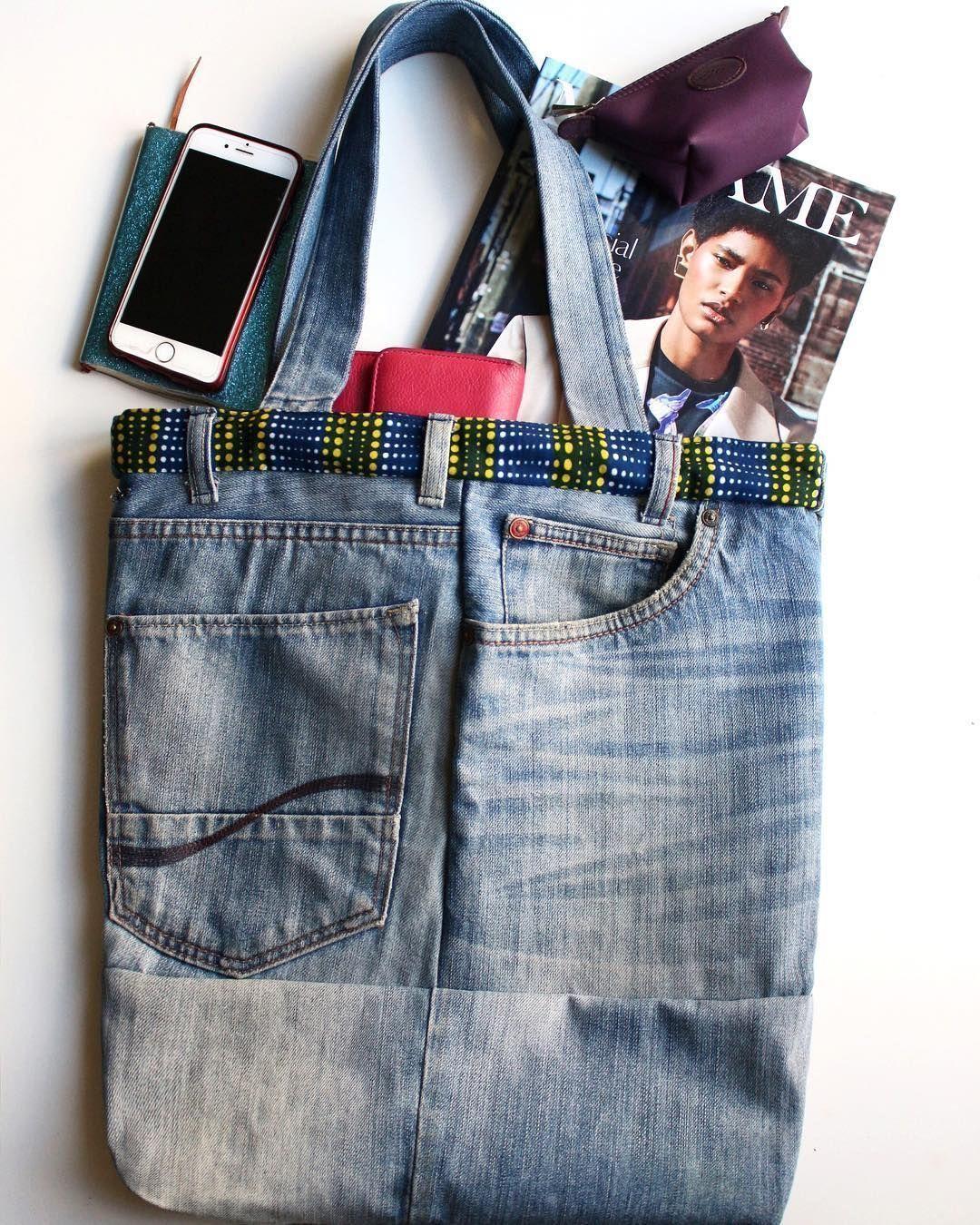Login #chutedetissu ▫️SAC ÉTHIQUE ▫️ Quand je décide de donner une seconde vie à un vieux jeans qui ne se porte plus, ça donne un sac Tote en denim, original ethique, super pratique et parfait pour les journées détentes printanières - Sac DIY que j'ai habillé avec une chute de tissu wax que j'avais sous la main, histoire de le personnaliser un peu. - Ce DIY est très facile à réaliser et elle permets de recycler ses vieux vêtements et tissus... Je recycle, je m'amuse, et #chutedetissu