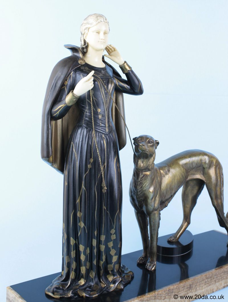 French Art Deco Spelter Sculpture Lady Greyhounds Borzoi Dog Onyx Marble 1920s Cheapest Price From Our Site Antiques