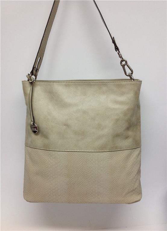 Annons på Tradera: Väska axelväska beige rymlig hinkmodell