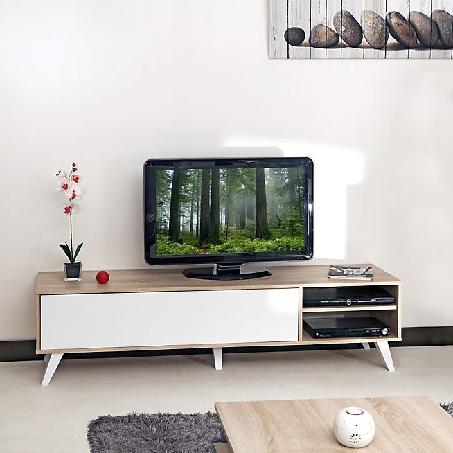 sopra meuble tv style scandinave coloris ch ne blanc l165cm meuble tv style scandinave chene. Black Bedroom Furniture Sets. Home Design Ideas