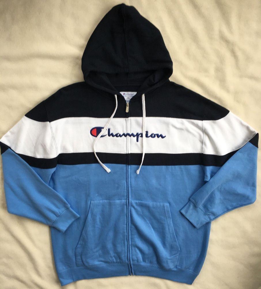 Champion Mens Full Zip Color Block Script Logo Hoodie Sweatshirt Nwt 2xl 3xl Champion Hoodie Sweatshirts Hoodie Sweatshirts Hoodies [ 1000 x 906 Pixel ]
