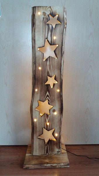 Deko-Objekte - Holzbrett mit Sterne + LED-Beleuchtung - ein Designerstück von FILZ_HOLZ_und_MEHR bei DaWanda #weihnachtsdekoglas