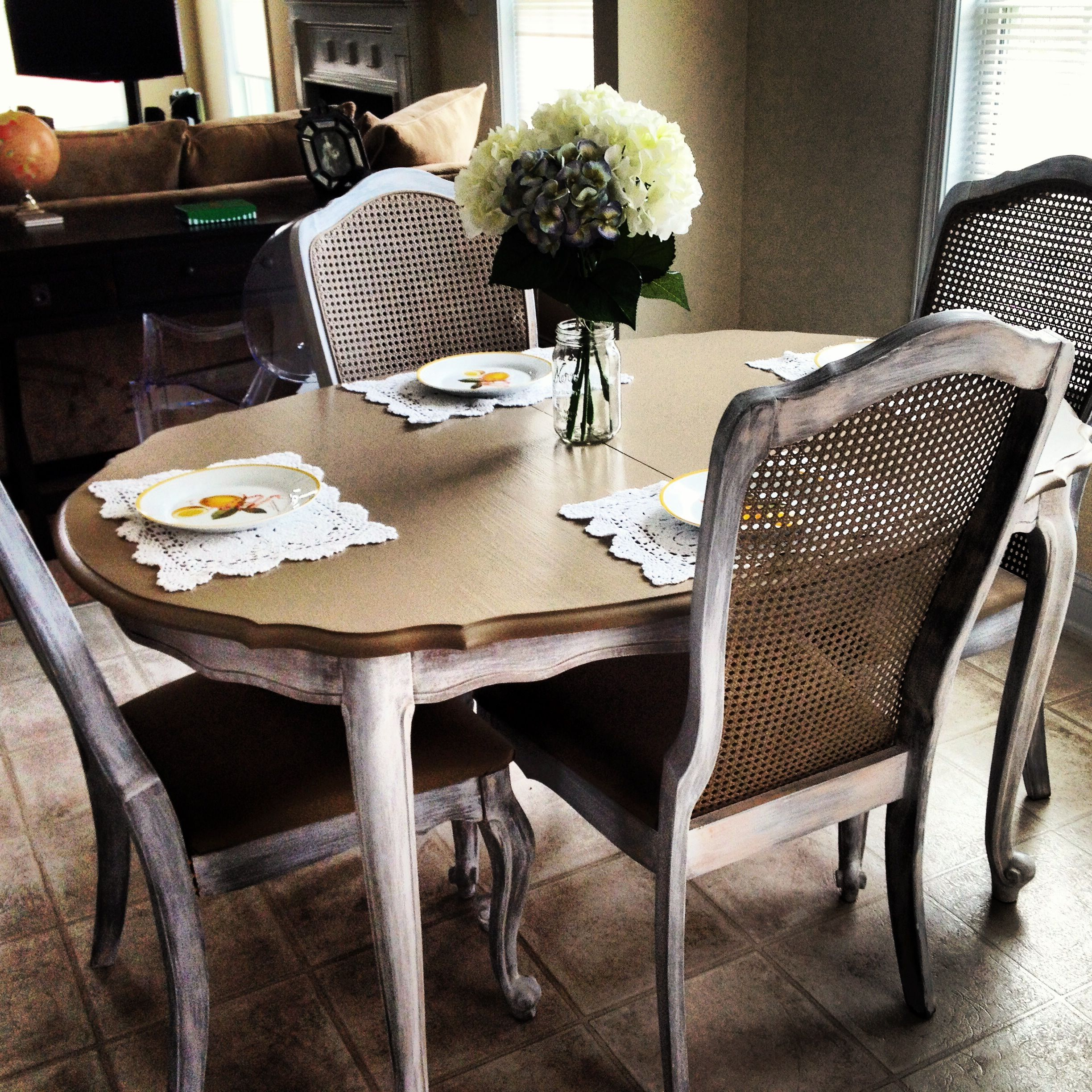 My Diningroomtable I Refinished And Reupholstered Whitewashed