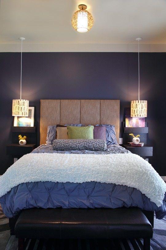 Pendant Lights With Floating Shelf Above Bedside Tables Home Bedroom Zen Bedroom Home