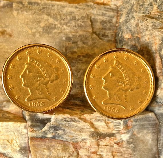 Trifari Coin Gold Tone Clip Earrings by CoCoBlueTreasures on Etsy