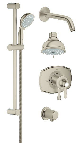 View The Grohe 35 053 Grohflex Pressure Balanced Shower System Includes Trim Shower Head Hand Shower S Bathroom Shower Systems Shower Systems Shower Heads