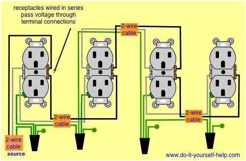 wiring diagram receptacles in series electrical pinterest rh pinterest com wiring electrical outlets daisy chain wiring multiple electrical outlets