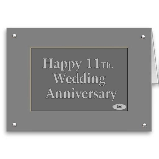 Happy 11th Wedding Anniversary Steel Card Zazzle Com Happy 11th Anniversary 11th Wedding Anniversary Wedding Anniversary
