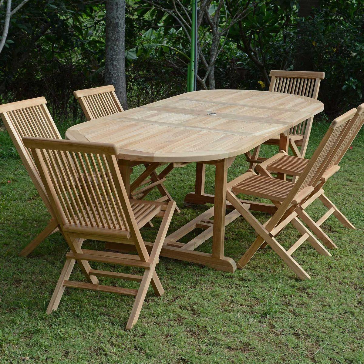 Salon De Jardin En Teck Ecograde Tanao Table Extensible Avec 6
