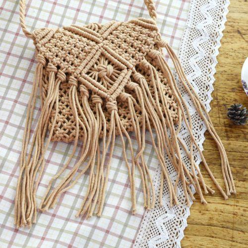 Women Handbag Tassel Crochet Knit Boho Crossbody Summer Shoulder Messenger Bag