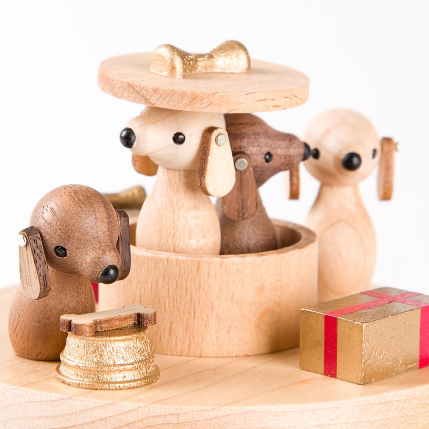 Puppies Wooden Music Box Bo