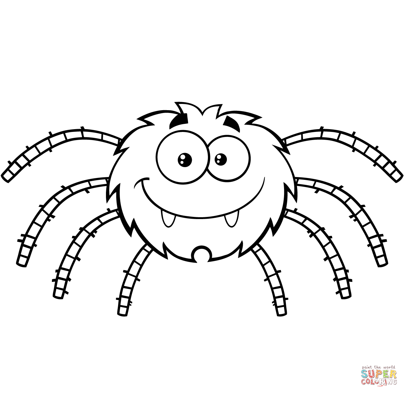 Funny Cartoon Spider coloring page from Spider category. Select from ...