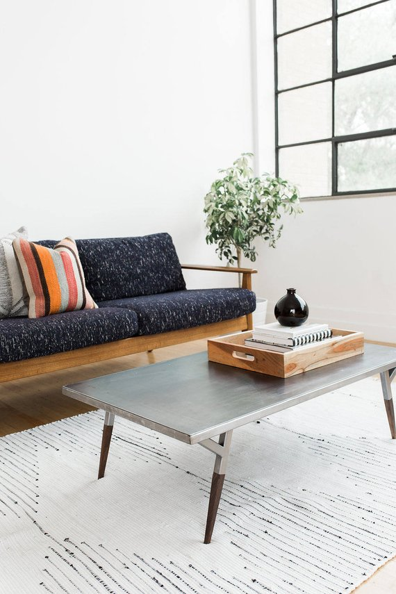 Walnut Furniture Living Room Colors With Dark Industrial Metal Mid Century Modern Coffee Table Small Steel Wood Oak H