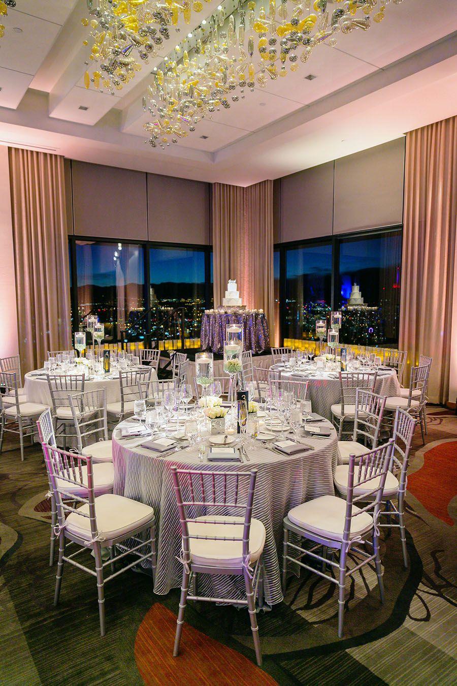 Wedding Reception At The Grand Hyatt Denver Pinnacle Club Example Of Cake In Corner