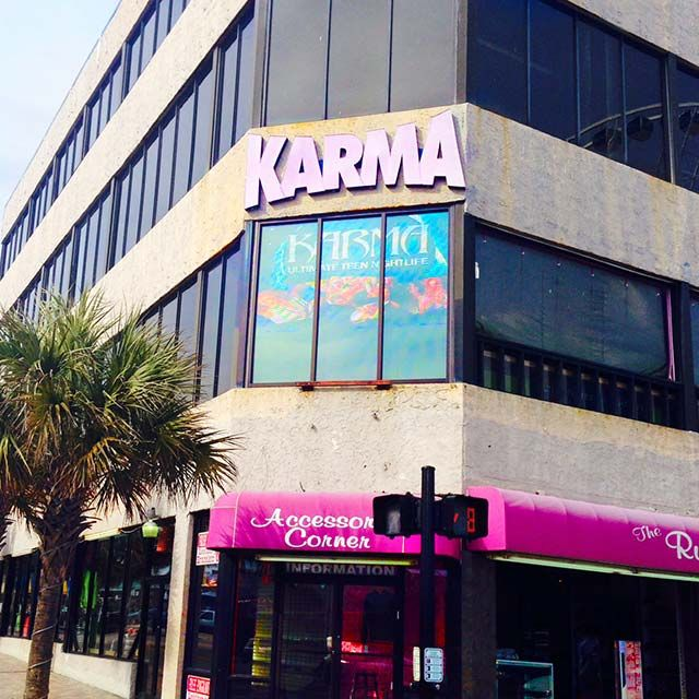 Karma Teen Club 1101 N. Ocean Blvd., Myrtle Beach, SC 29577 Hours:  Mon.-Sun. 7 p.m. to midnight (843) 455-6061