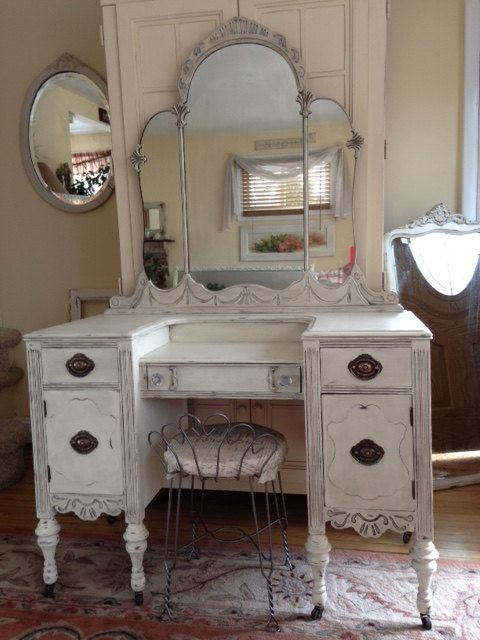 Creamy White Distressed Antique Shabby Chic~Cottage Depression Vanity/Desk  & Stool~Vintage - Creamy White Distressed Antique Shabby Chic~Cottage Depression