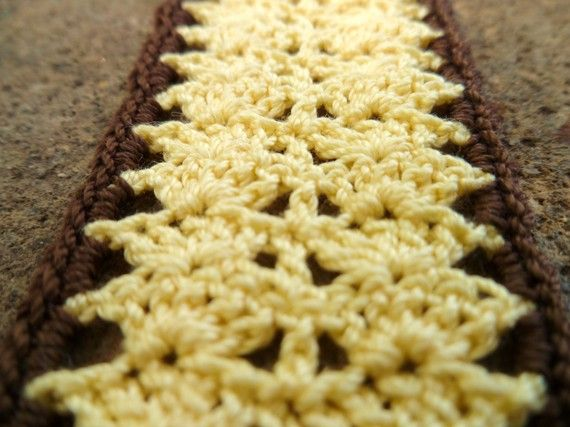 Yellow and Brown Crocheted Bookmark by Ravy17CrochetDesign on Etsy, $7.95
