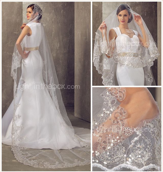 Enstrengede Cathedral Wedding Veil - USD $ 69.99
